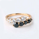 White & Black Diamonds Engagement Ring 14K Yellow Gold-Filled