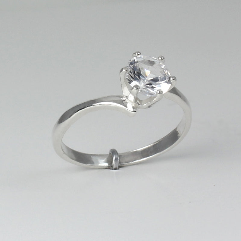 White Sapphire 925 Sterling Silver Engagement Ring / Round-Shaped
