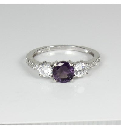 Color-Changing Alexandrite and Diamonds 925 Sterling Silver Engagement Ring Set / Round-Shaped