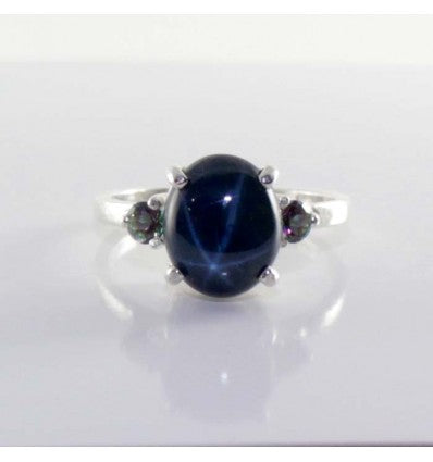 Genuine Blue Star Sapphire Ring 925 Sterling Silver / Mystic Topaz Accents