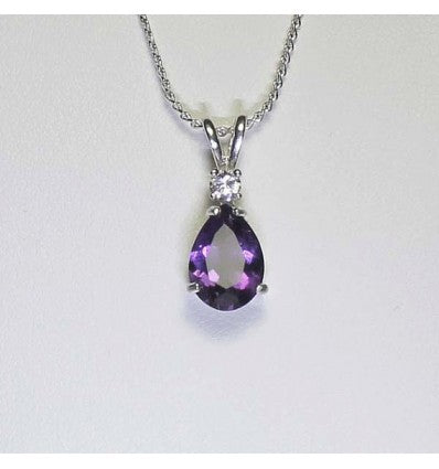 Natural African Amethyst Necklace 925 Sterling Silver / Pear-Shaped