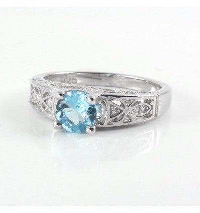 Natural Aquamarine and White Diamonds Sterling Silver Ring / Celtic-Style