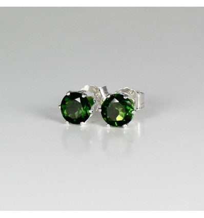 Natural Russian Chrome Diopside 925 Sterling Silver Stud Earrings