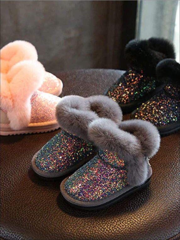 Girls Sparkle Furry Ankle Boots
