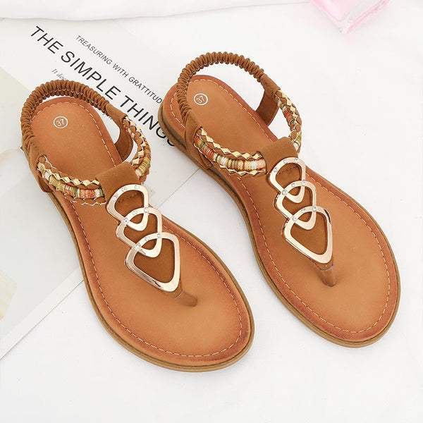 Summer Casual T-Strap Slip On Comfy Sandals