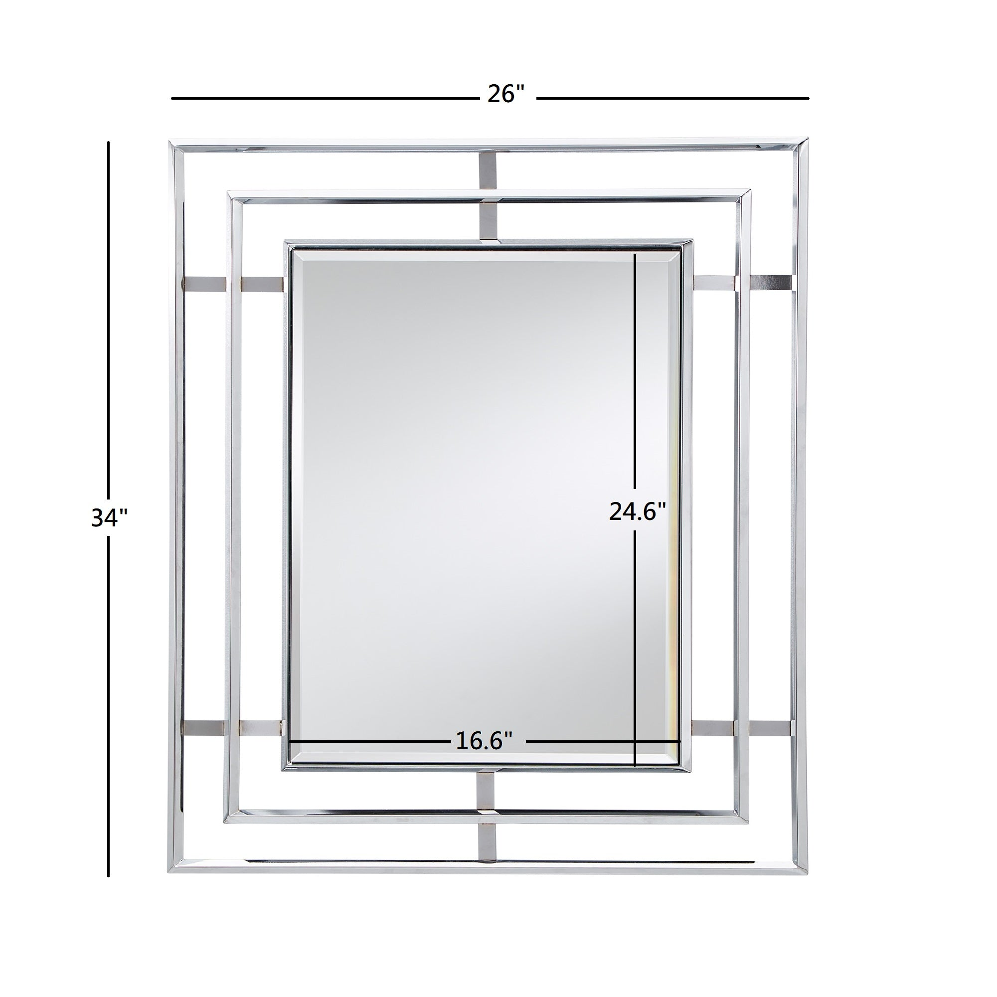 Triple Framed Chrome Rectangular Wall Mirror