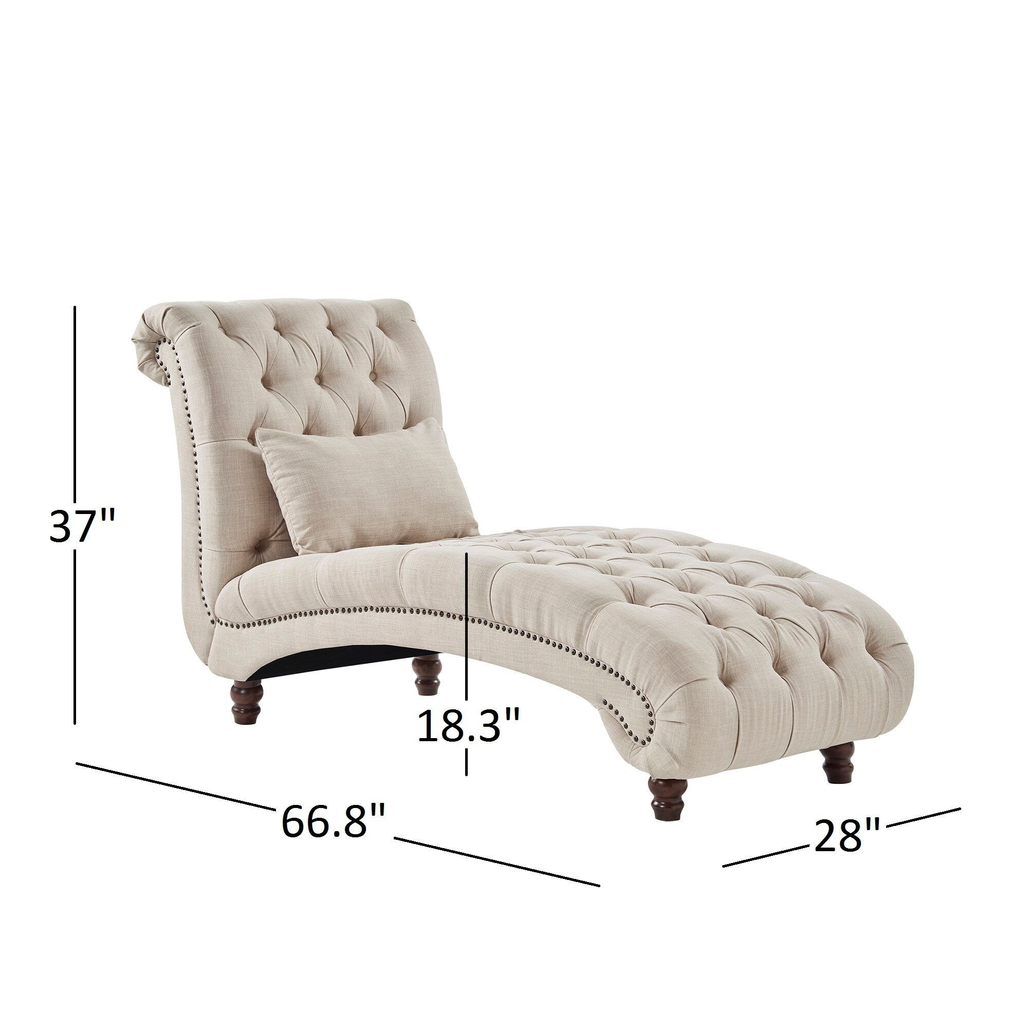 Tufted Oversized Chaise Lounge - Beige Linen