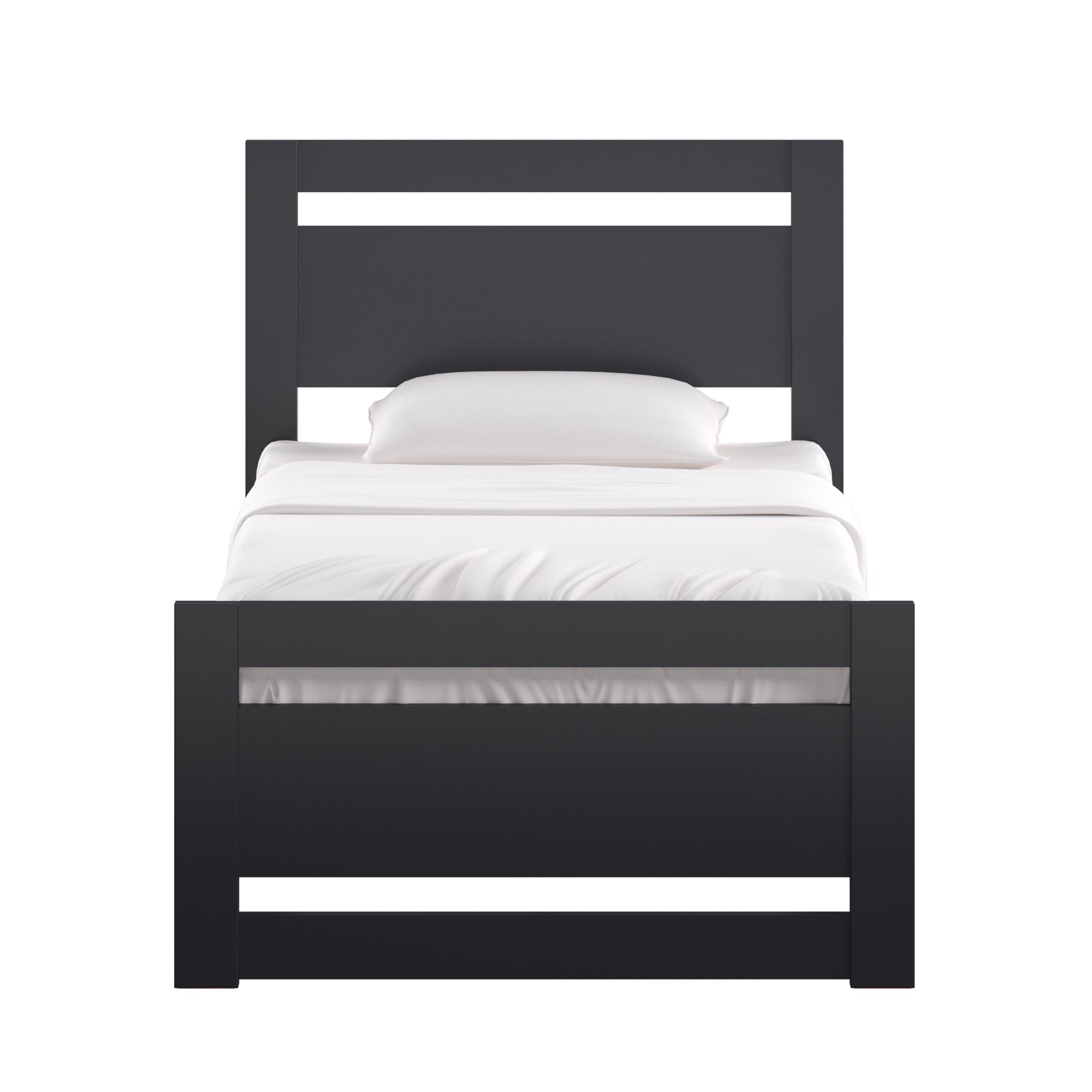Rectangular Cutout Panel Platform Bed - Vulcan Black, Twin