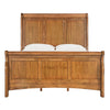 Wood Sleigh Bed - Oak Finish - Queen Size