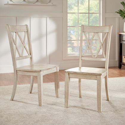 Antique White With Double X Back Wood Dining Chair (Set of 2)