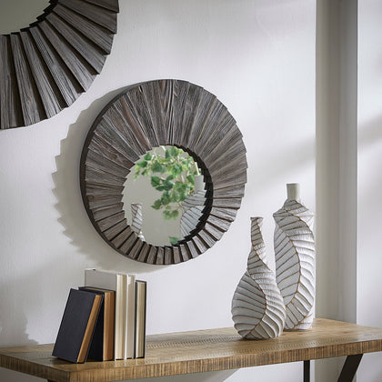 Dark Brown Reclaimed Wood Round Seashell Wall Mirror