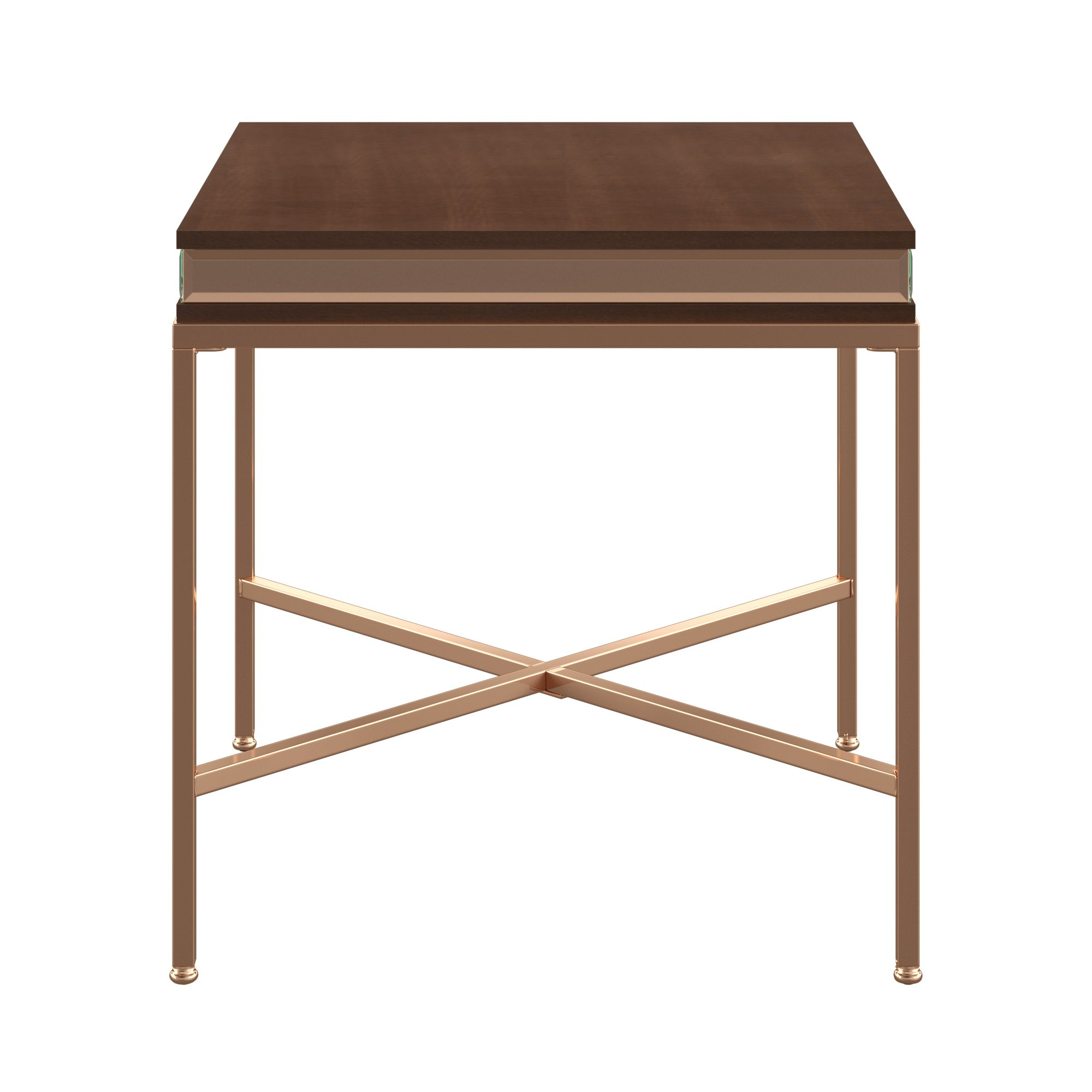 Oak and Mirror Champagne Gold Trim End Table