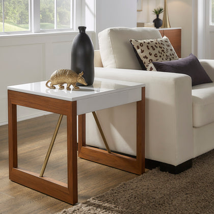 Two-Tone High Gloss White and Walnut Finish Table - End Table
