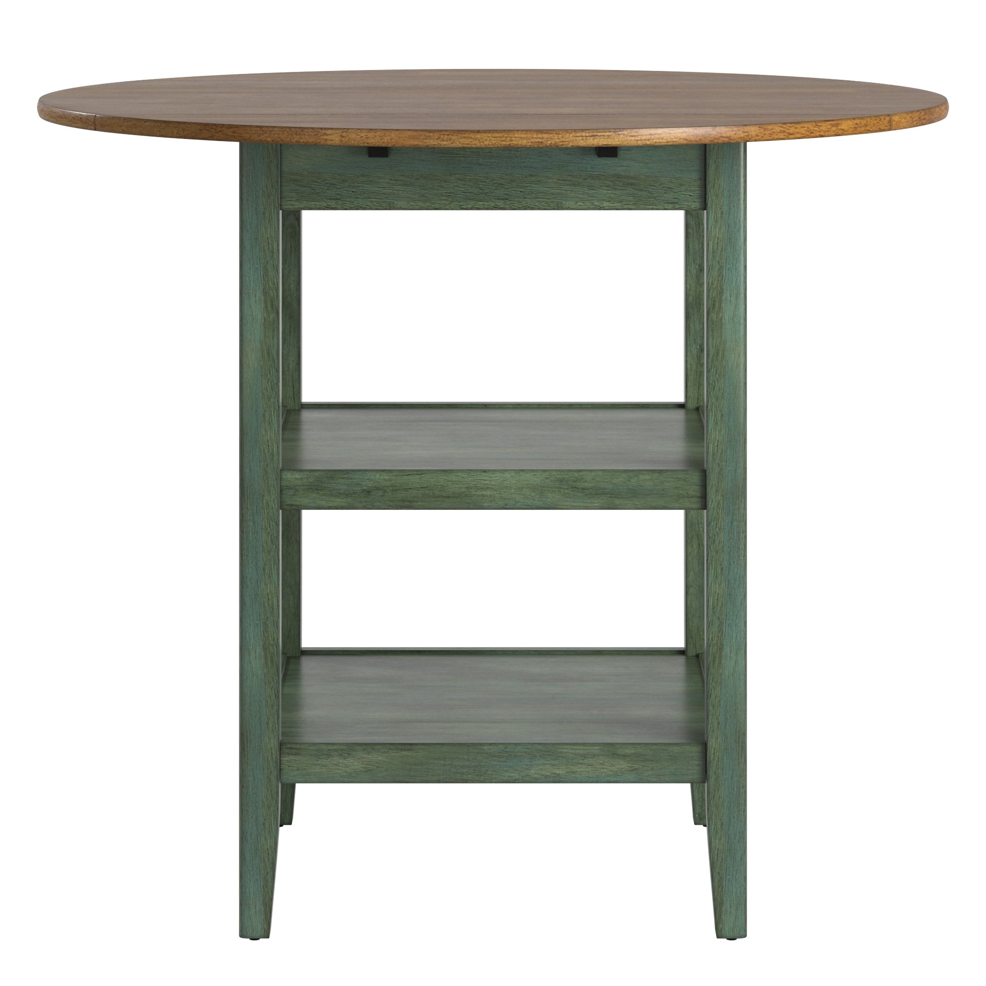 Antique Finish 2 Side Drop Leaf Round Counter Height Table - Oak and Antique Sage Finish