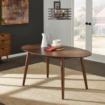 Mid-Century Walnut Oval Dining Table