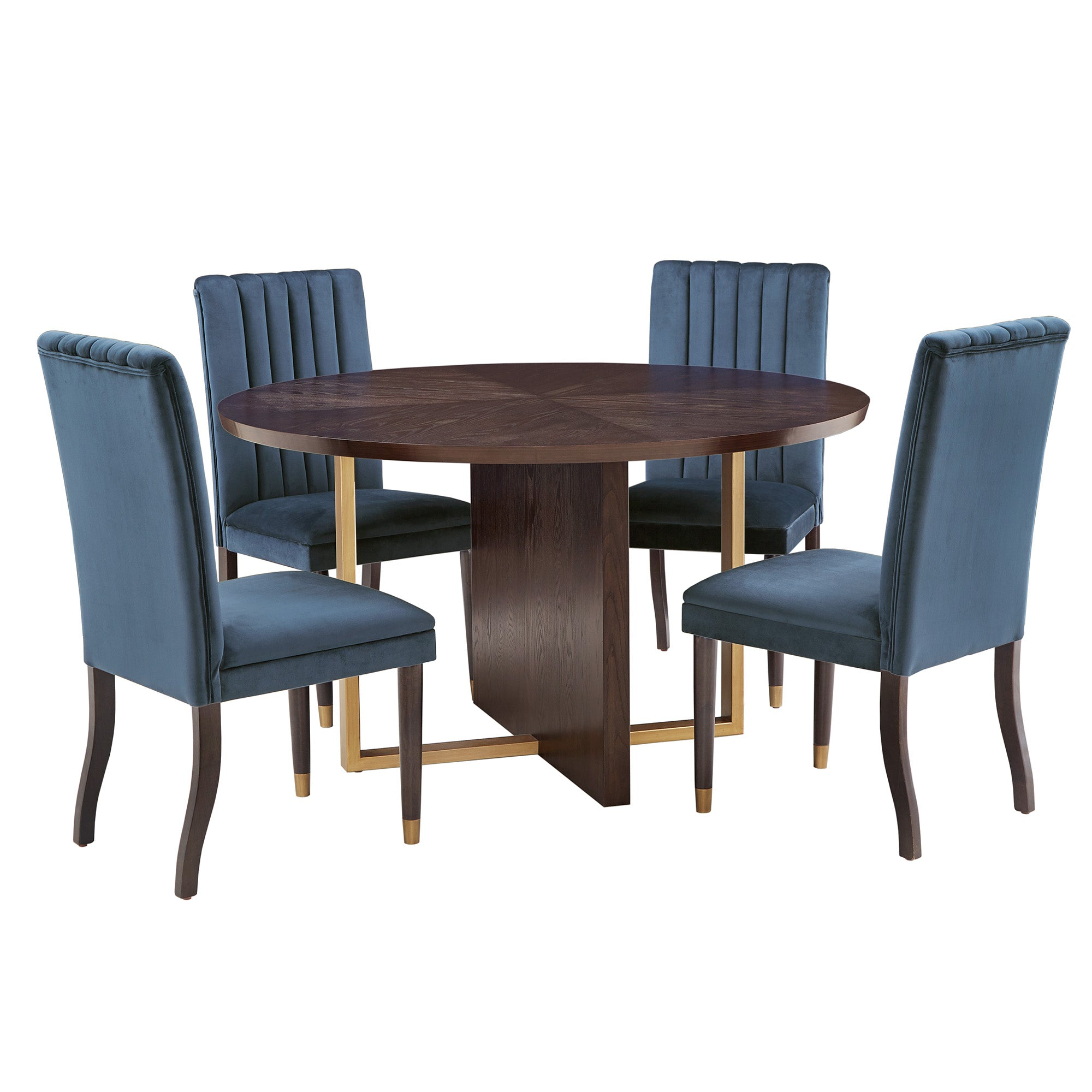 Espresso Wood Velvet Upholstered Dining Set - 5-Piece Set, Blue Velvet Chairs