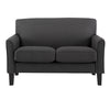 Modern Loveseat - Dark Grey Linen, Espresso Finish