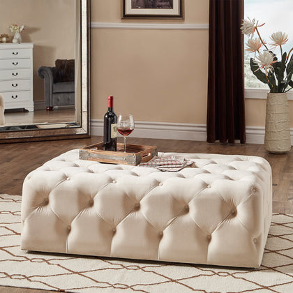 Rectangular Tufted Cocktail Ottoman with Casters - Beige Velvet