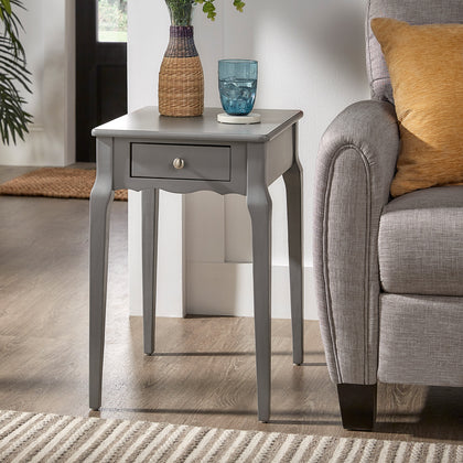 1-Drawer Wood Side Table - Grey