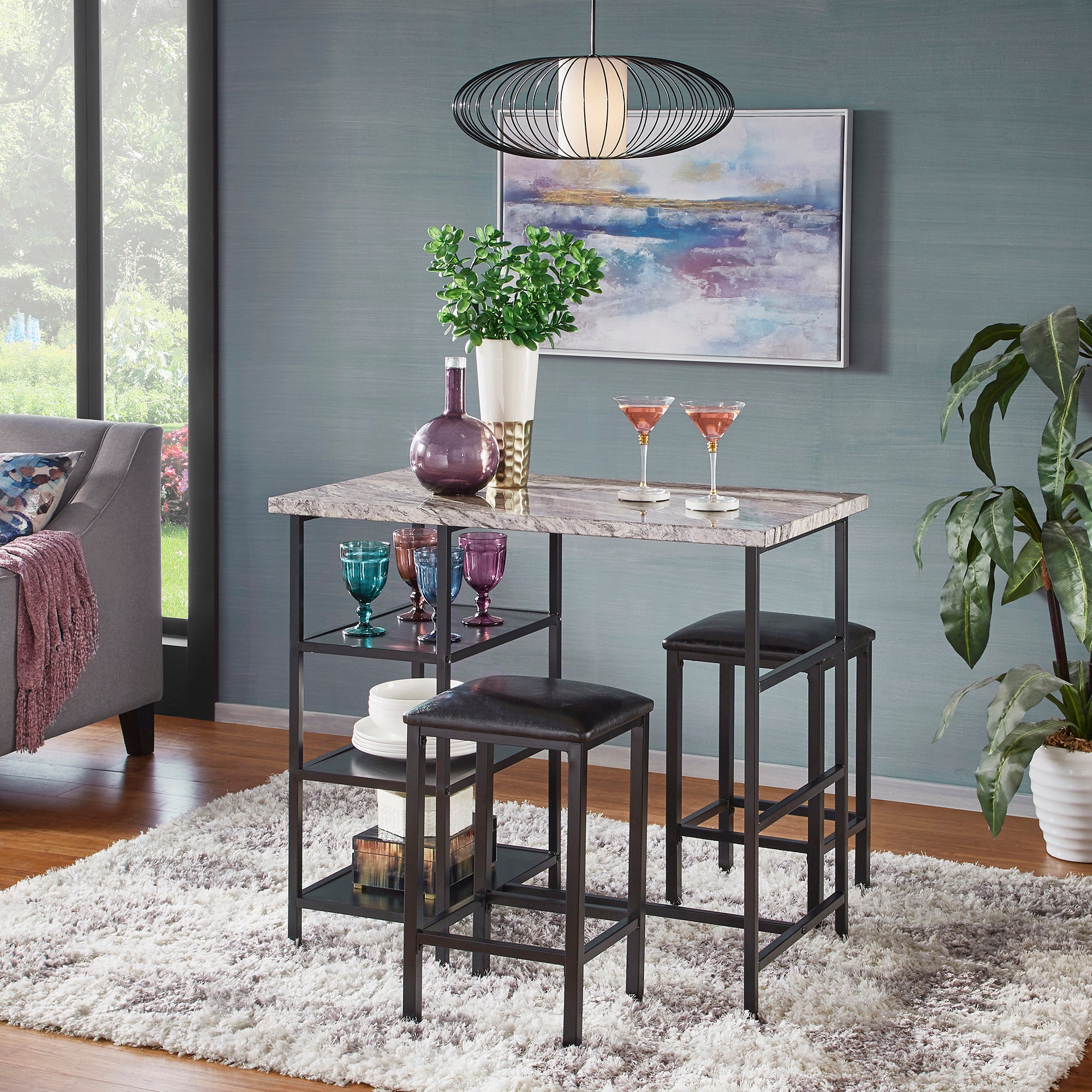 Counter Height Metal Table Set with Faux Marble Top - Black Finish Base and Beige Faux Marble Top