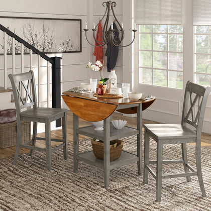 Double X-Back Counter Height Chair (Set of 2) - Antique Grey