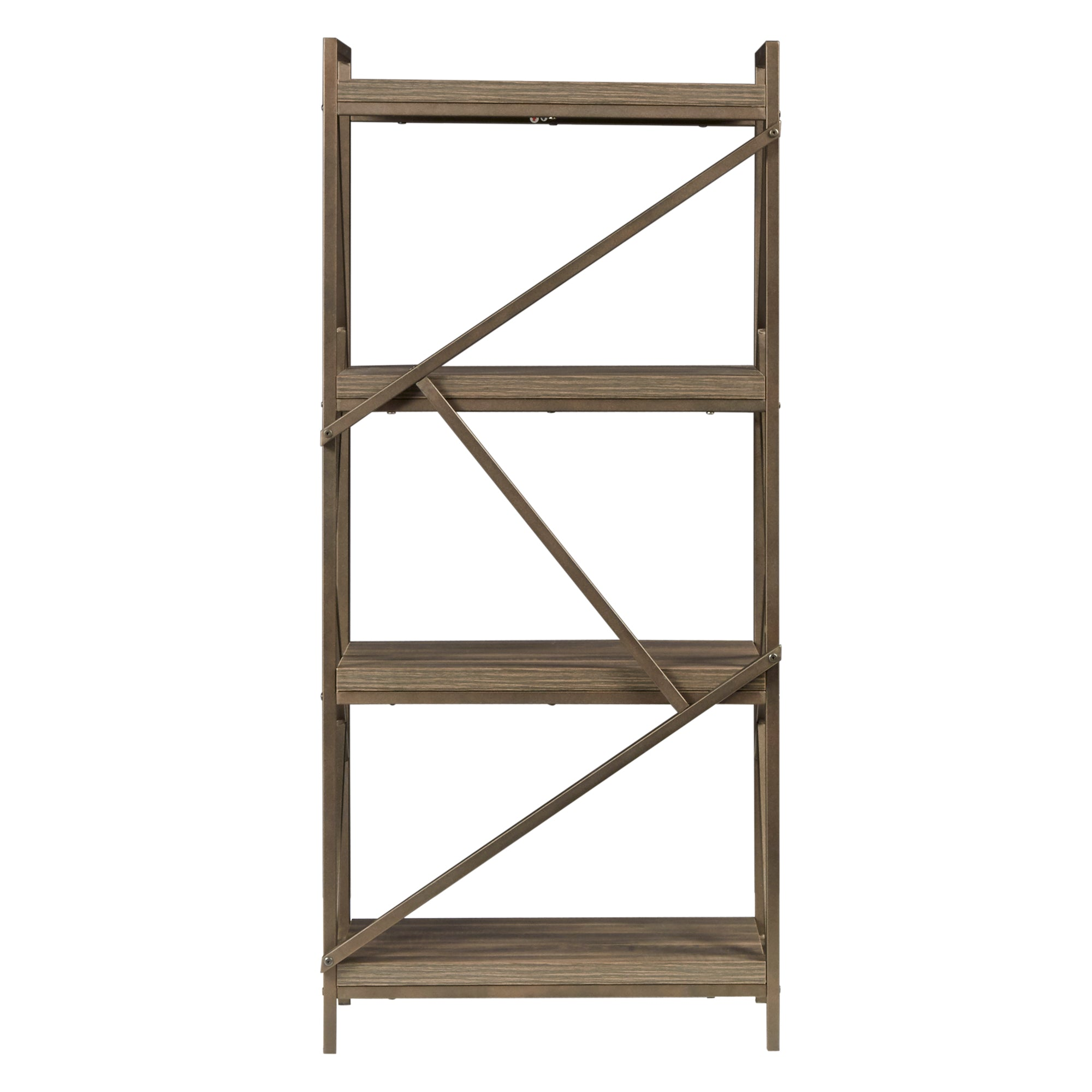 Metal Distressed Brown Bookshelf Media Tower