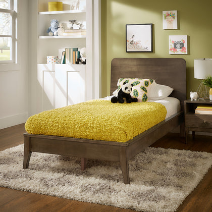 Walnut Finish Wood Platform Bed - Twin Size