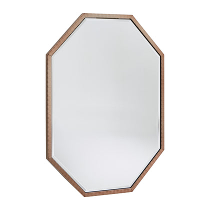 Champagne Gold Checkered Pattern Metal Octagon Wall Mirror