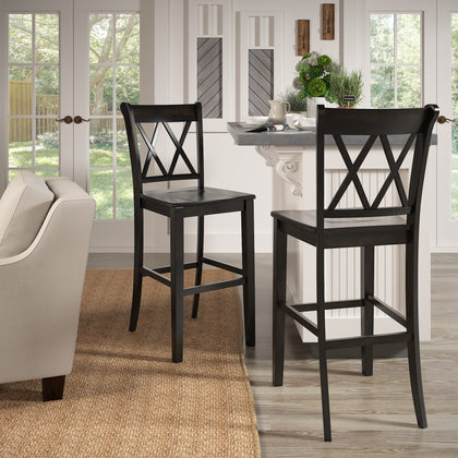 Antique Black Finish With Double X Back Bar Height Chairs (Set of 2)