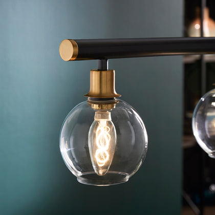 Matte Black Modern 4-Glass Globe Pendant Light