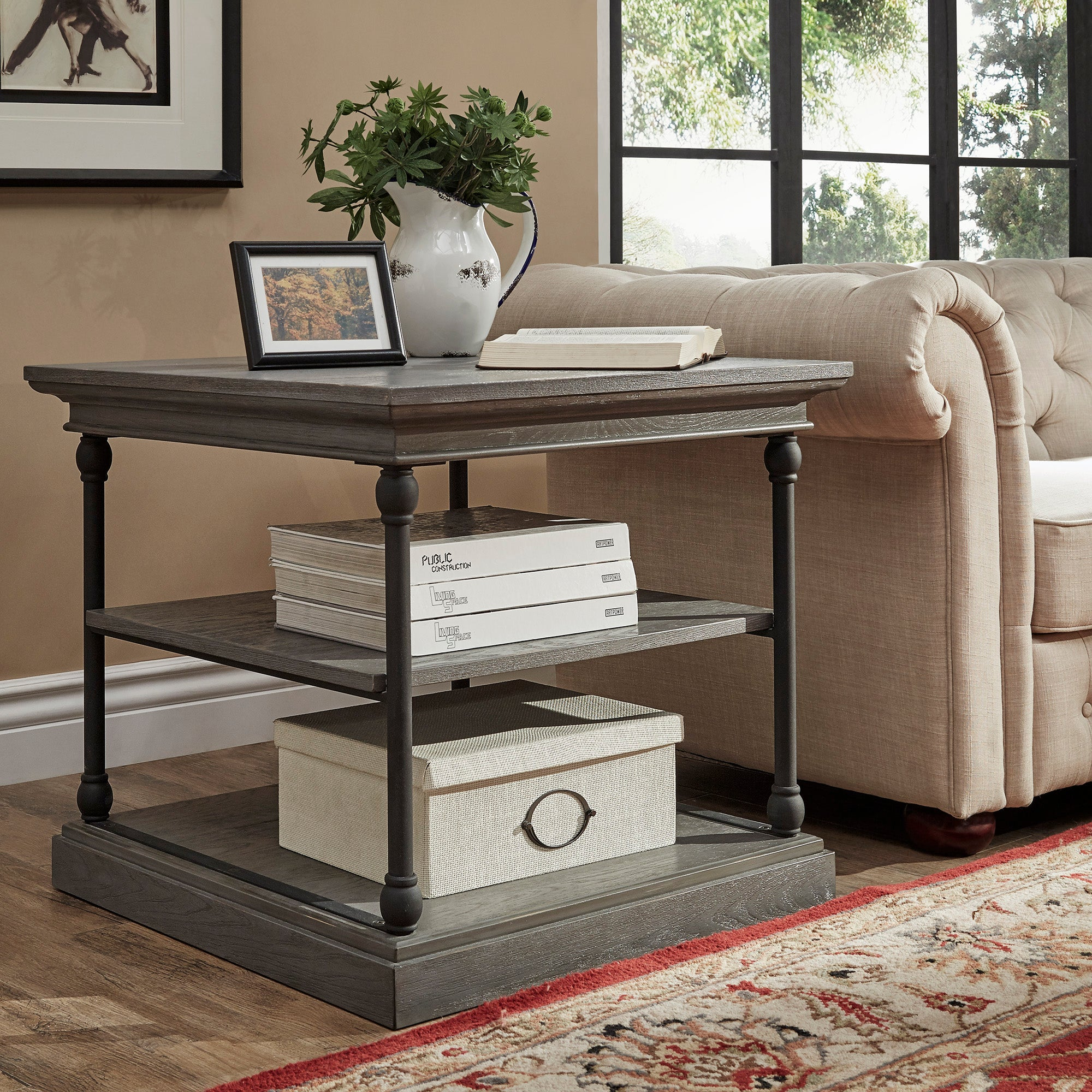 Cornice Accent Storage Side Table - grey color finish
