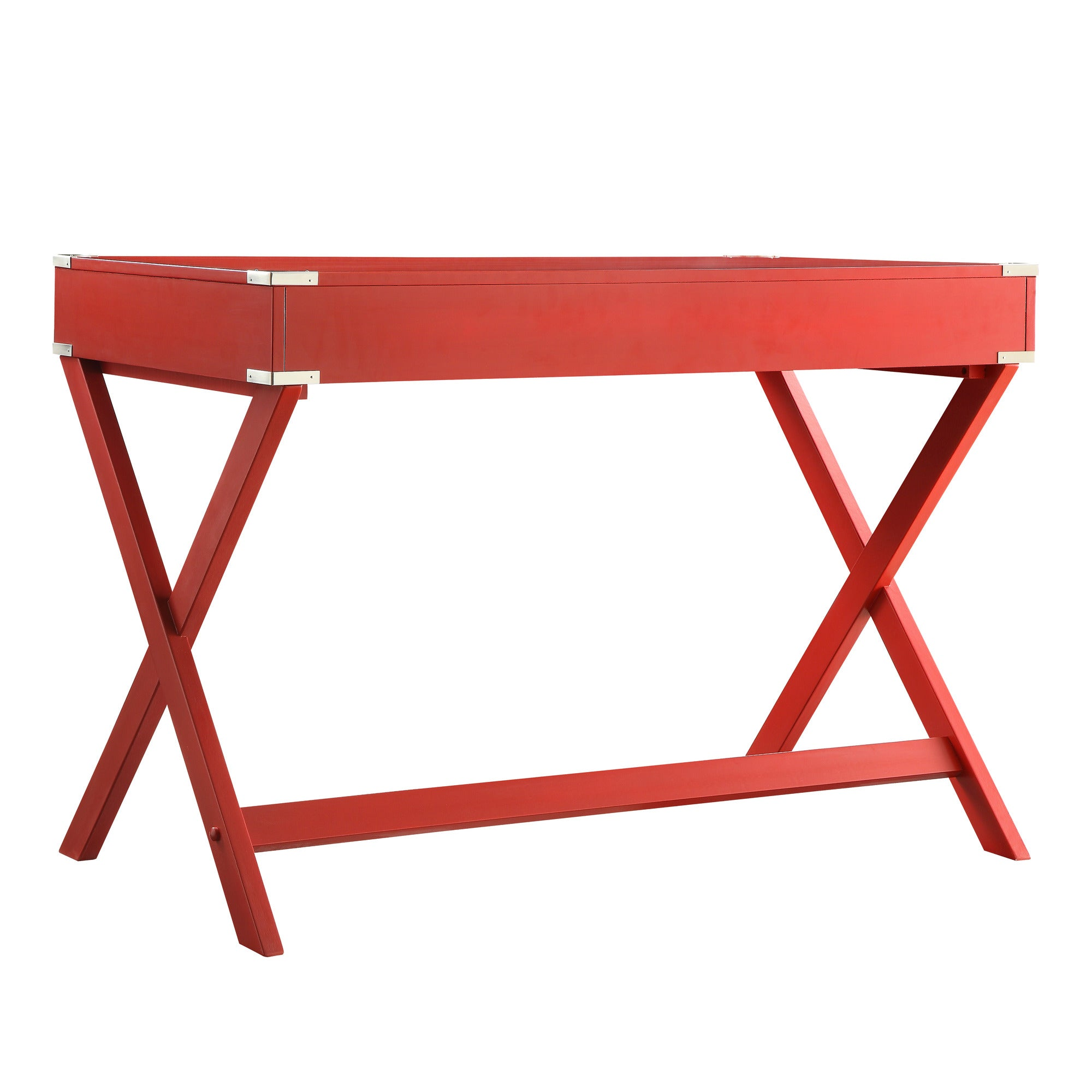 X-Base Wood Accent Campaign Writing Desk - Red