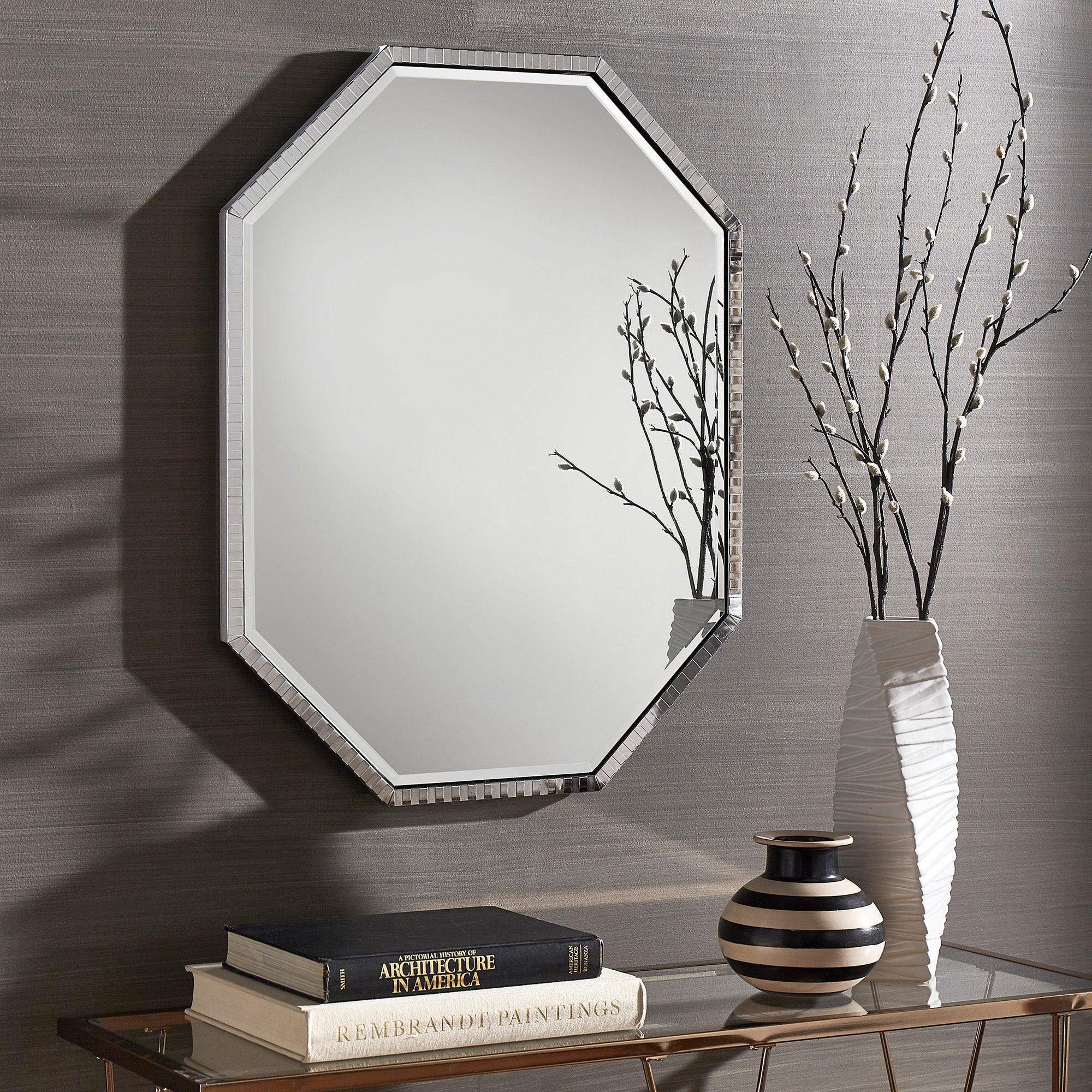 Chrome Checkered Pattern Metal Octagon Wall Mirror