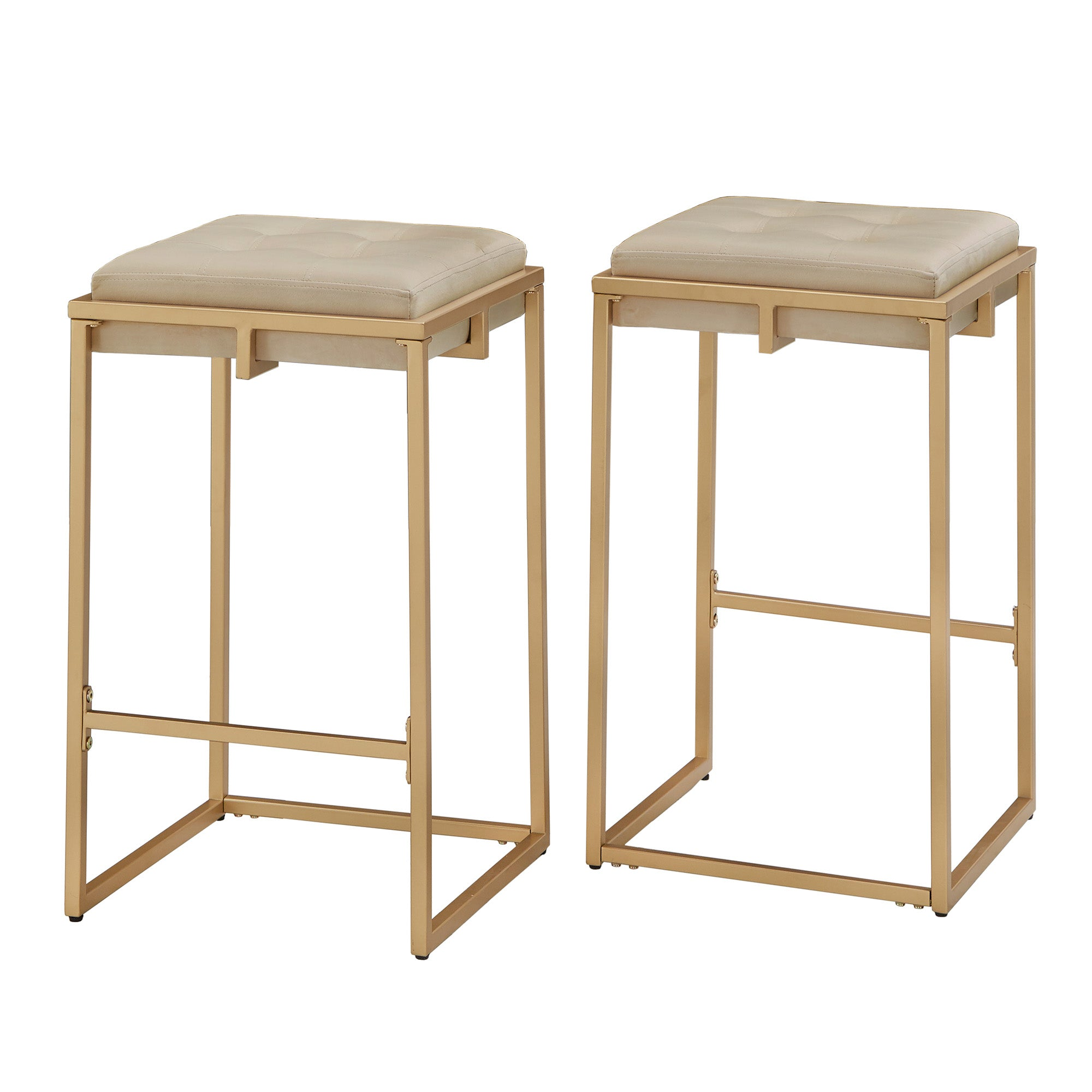 Gold Finish Beige Velvet Button Tufted Counter Height Stools (Set of 2)