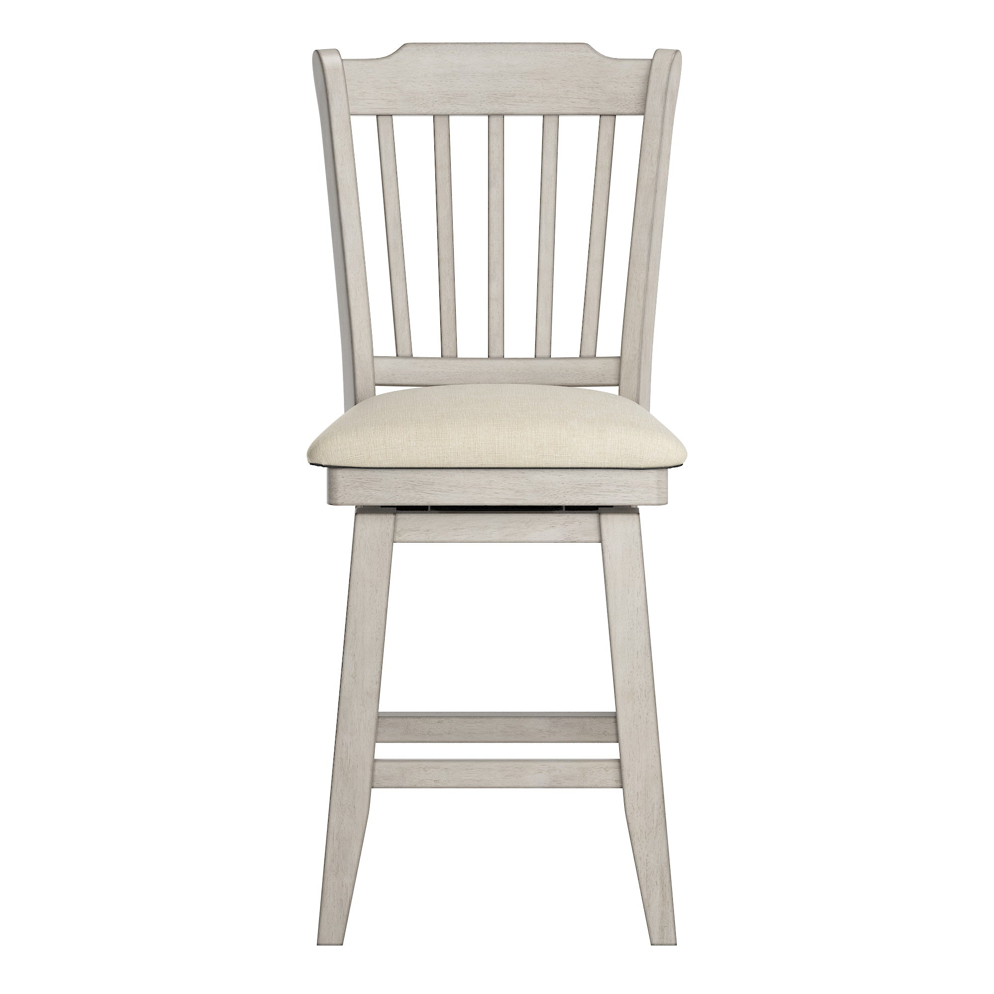 Slat Back Counter Height Wood Swivel Chair - Antique White Finish