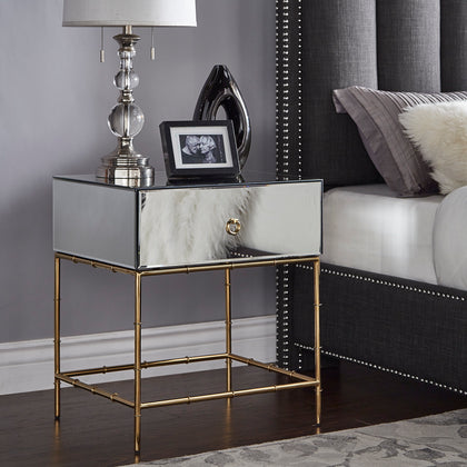 Mirrored Accent Table with Gold Finish Base