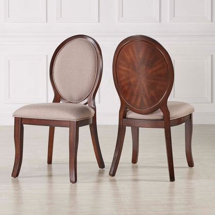 Rich Brown Cherry Finish Oval Dining Chairs (Set of 2)