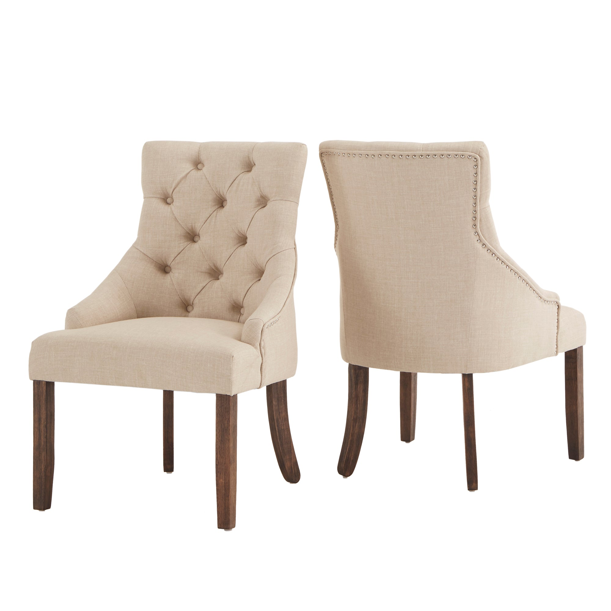 Linen Curved Back Tufted Dining Chair (Set of Two)