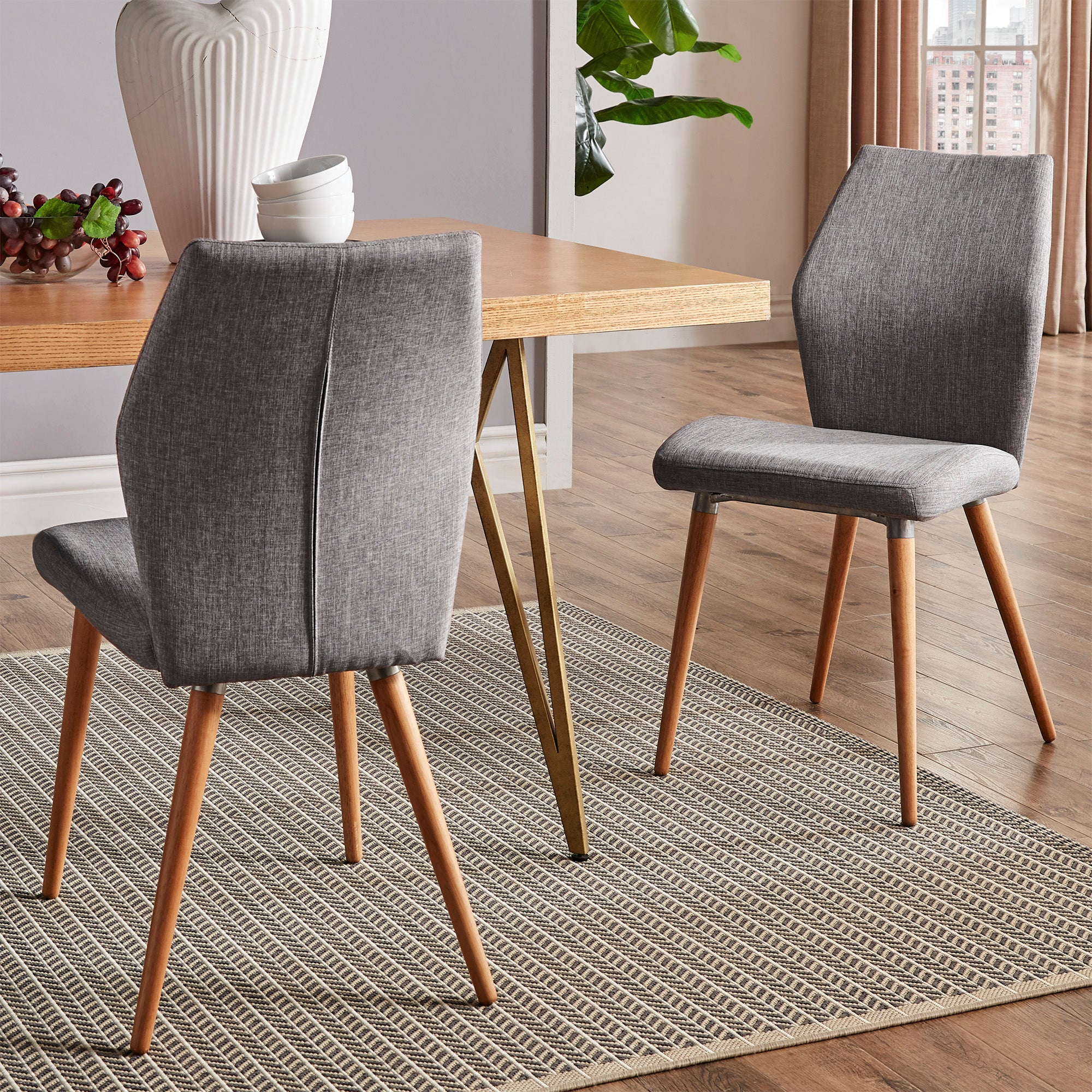 Contoured Upholstered Dining Chairs (Set of 2) - Grey Linen, Light Oak Finish