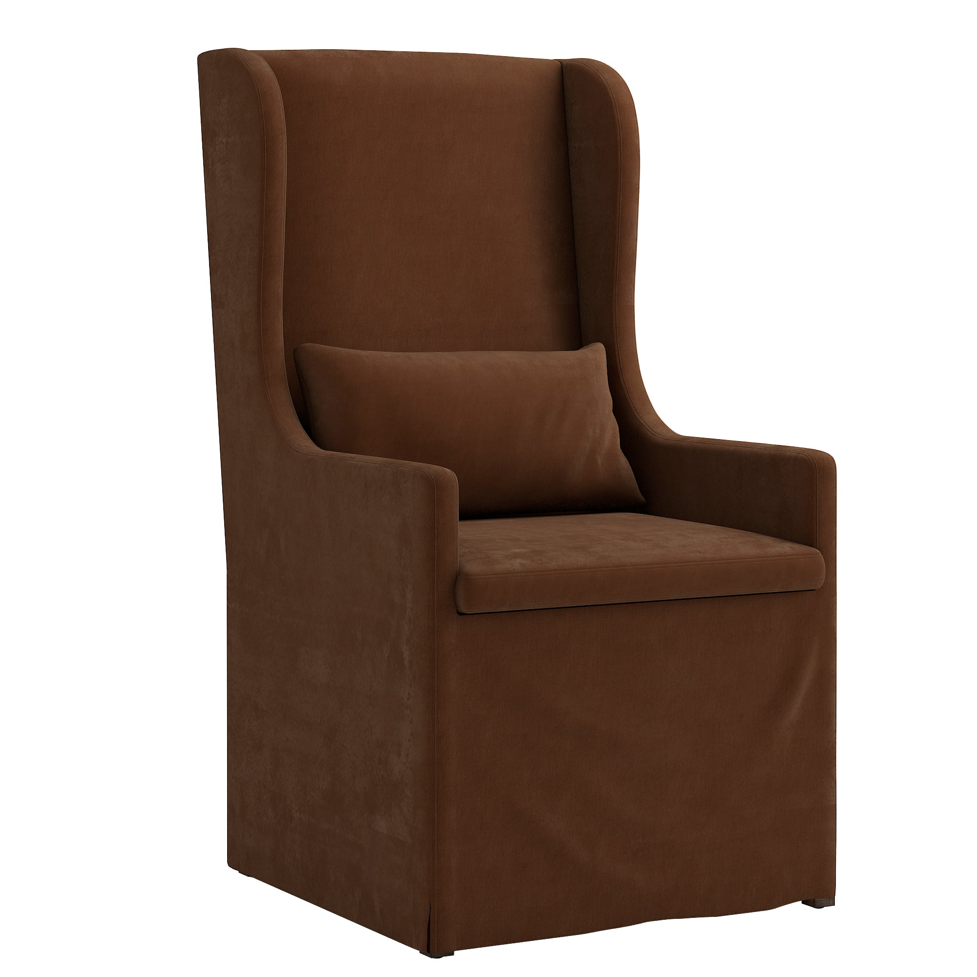Slipcovered Wingback Parson Chair - Brown