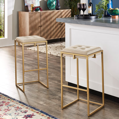 Gold Finish Velvet Button Tufted Bar Stools (Set of 2) - Bar Height - Beige