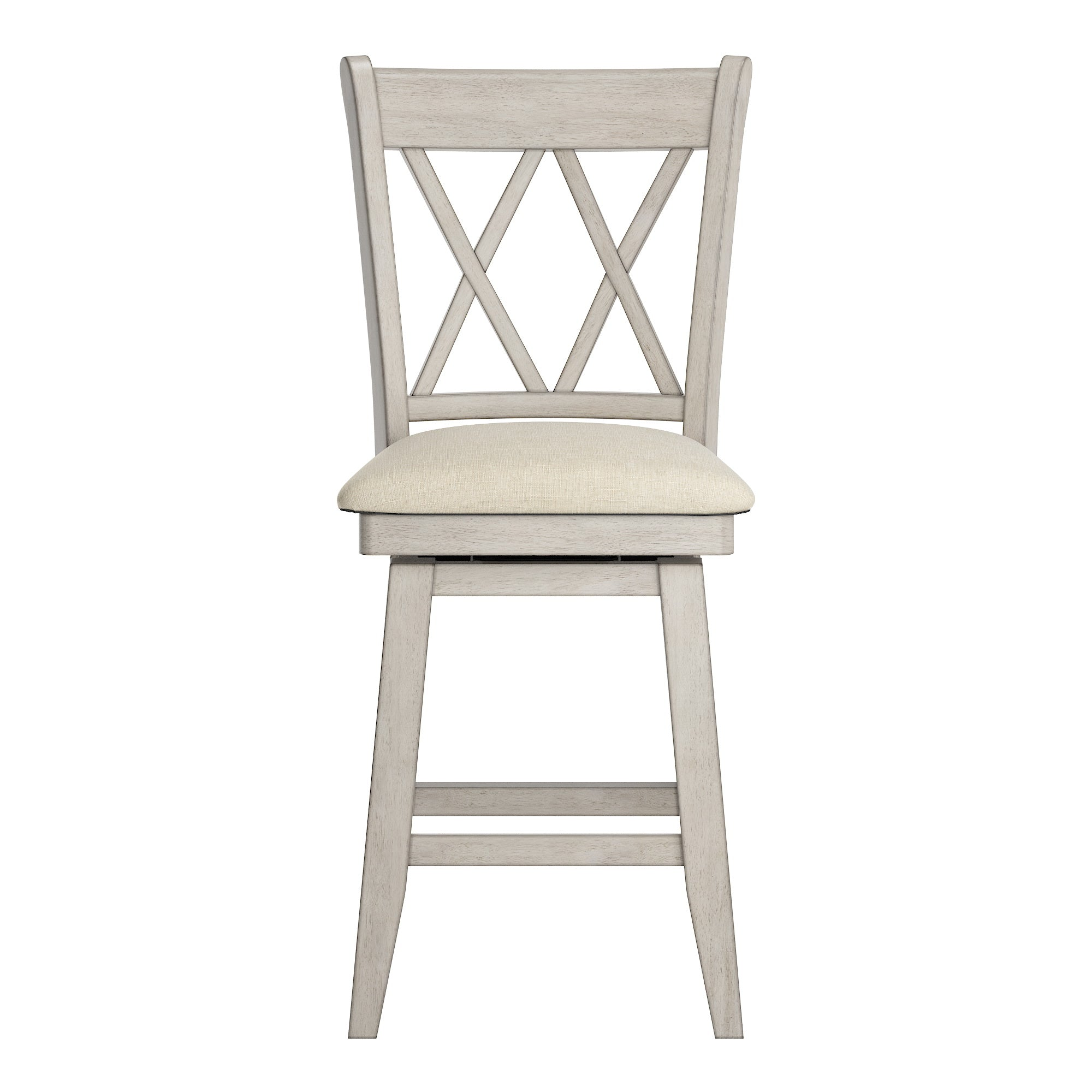 Double X Back Counter Height Wood Swivel Chair - Antique White