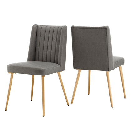 Gold Finish Fabric Dining Chairs (Set of 2)