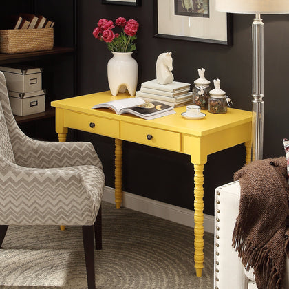 2-drawer Helix Legs Office Desk - Yellow