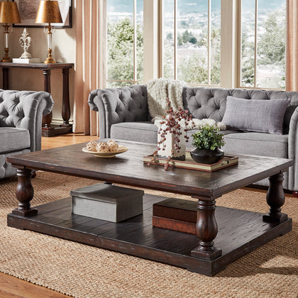 Charcoal Brown Baluster 60-inch. Reclaimed Wood Coffee Table