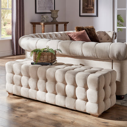 Linen Fabric Tufted Bench - Beige