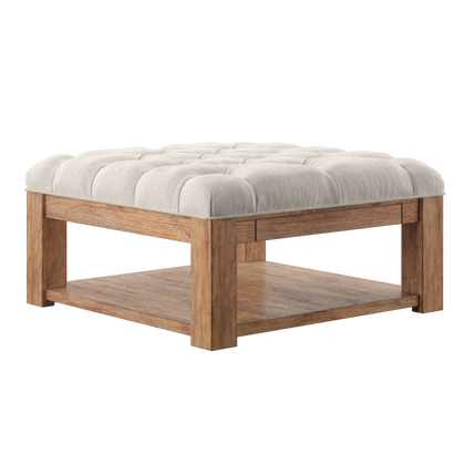 Pine Square Storage Ottoman Coffee Table - Beige Linen - Button Tufts