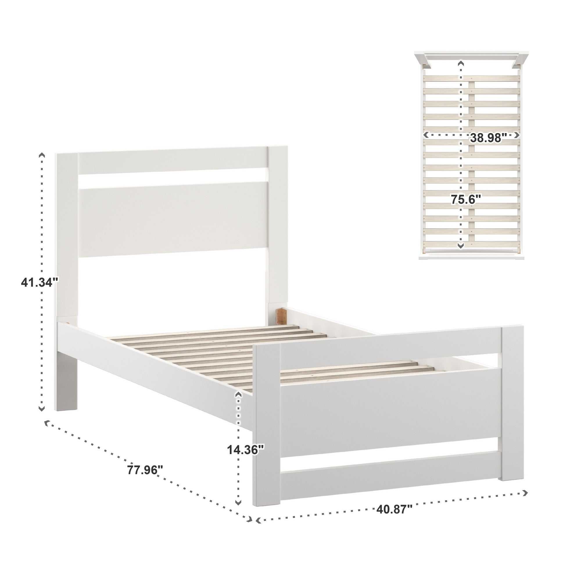 Rectangular Cutout Panel Platform Bed - White, Twin