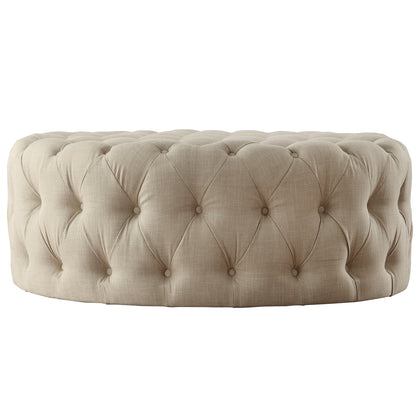 Round Tufted Cocktail Ottoman with Casters - Beige Linen