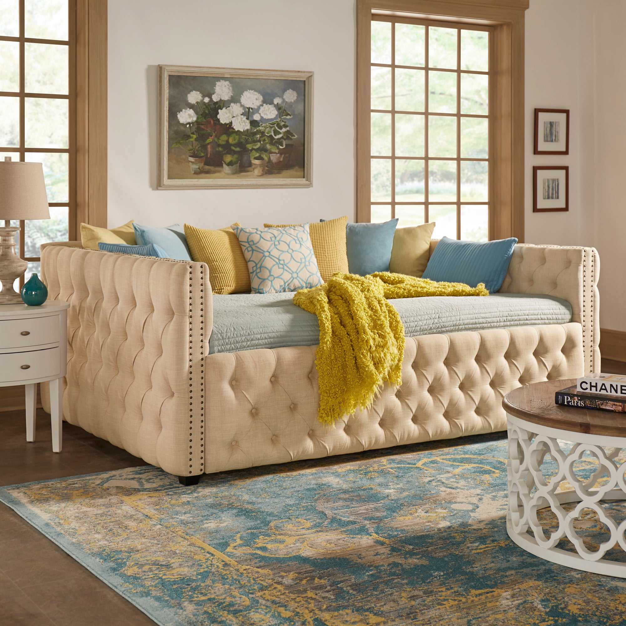 Tufted Nailhead Daybed and Trundle - Beige Linen, Queen Size, No Trundle